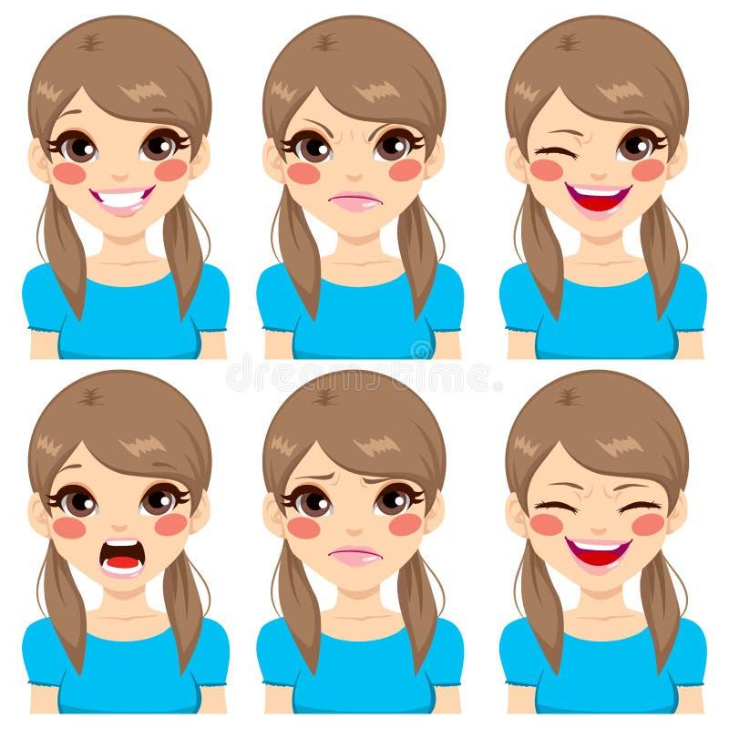 Expressões da cara do adolescente ilustração royalty free