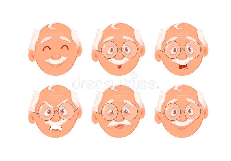 Expressões da cara do avô Jogo das emo??es ilustração do vetor