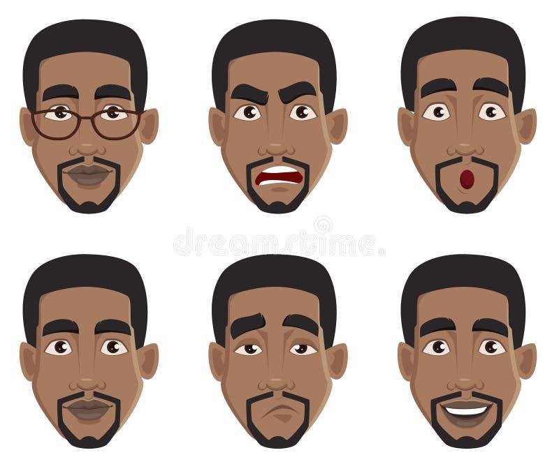 Expressões da cara do homem afro-americano ilustração do vetor
