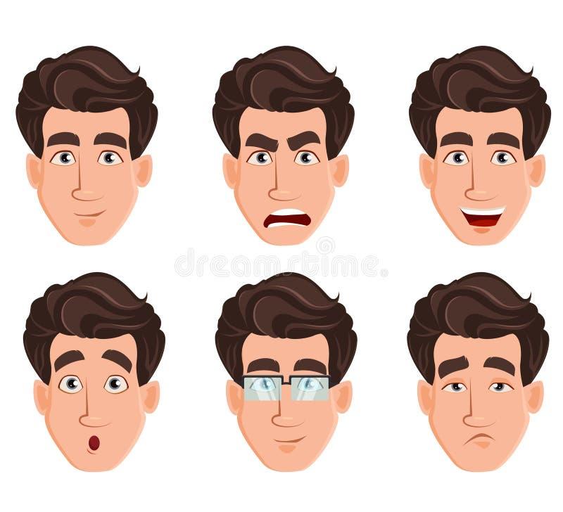 Expressões da cara do homem de negócio ilustração royalty free