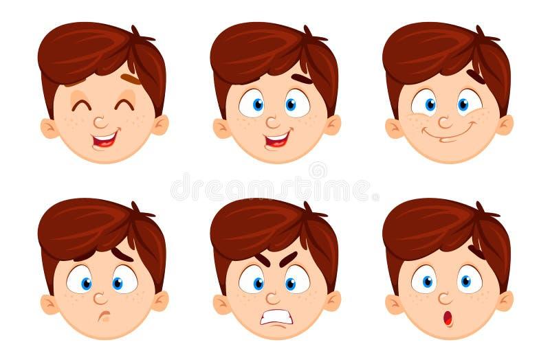 Expressões da cara do menino bonito Jogo de seis emo??es ilustração stock