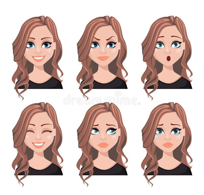 Expressões da cara da mulher do corretor de imóveis ilustração stock
