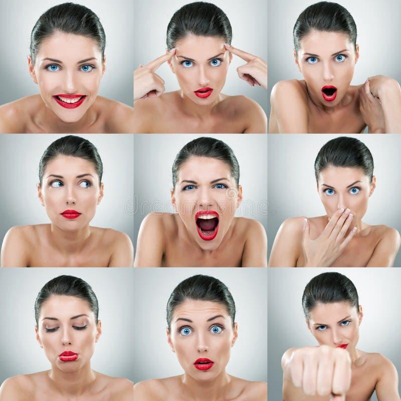 Expressões da face da jovem mulher compostas fotografia de stock