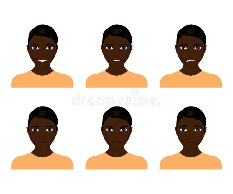 Expressões da face do homem novo compostas ilustração stock