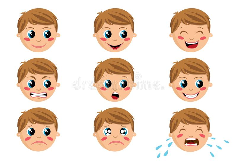 Expressões da face do menino ilustração stock