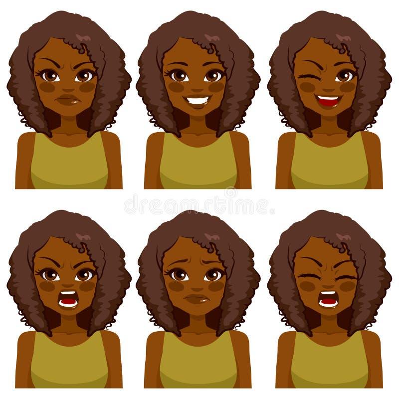 Expressões da mulher do Avatar ilustração stock