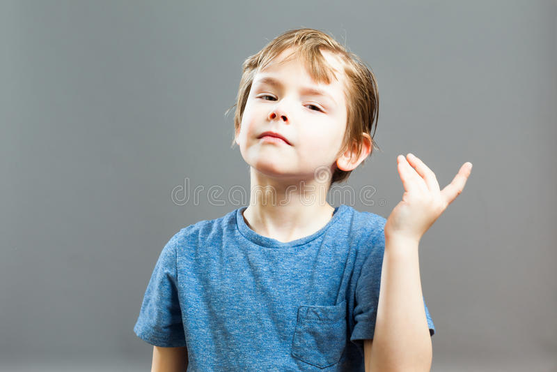 Expressões de Little Boy - caixa de história arrogante imagem de stock