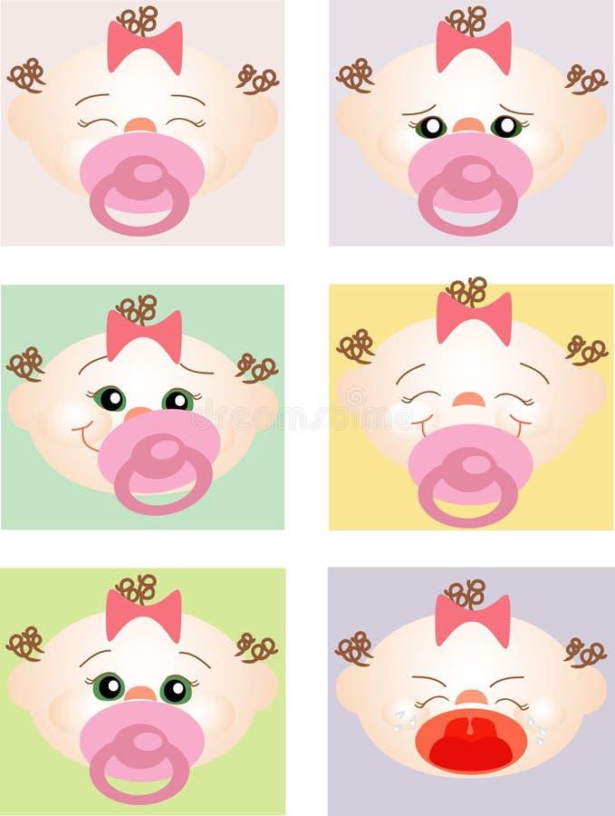 Expressões de um bebê novo ilustração royalty free