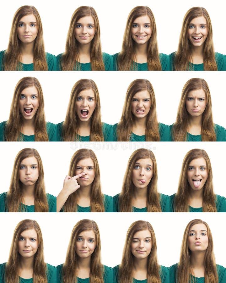 Expressões diferentes do múltiplo foto de stock