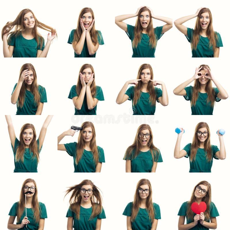 Expressões diferentes do múltiplo fotos de stock royalty free