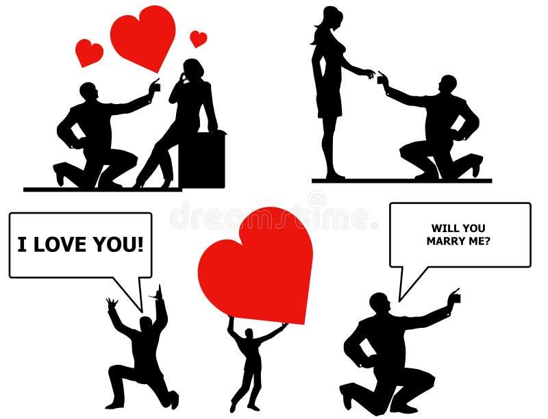 Expressões do amor e da união ilustração royalty free