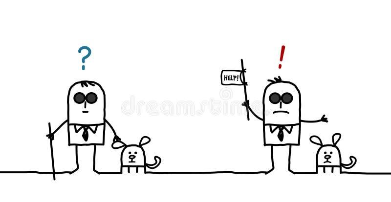 Expressões do homem cego ilustração stock