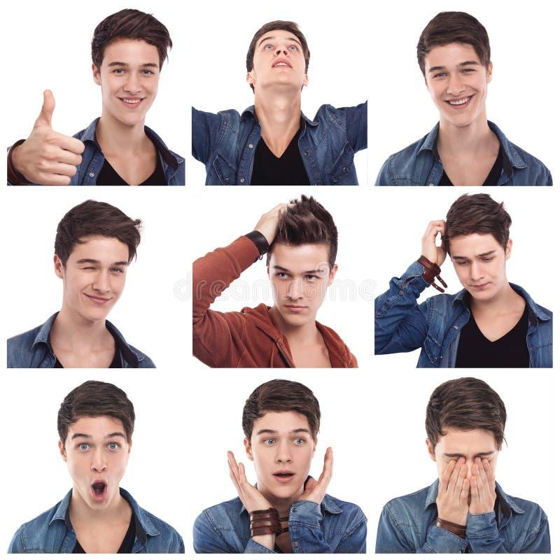 Expressões do múltiplo do homem novo foto de stock royalty free