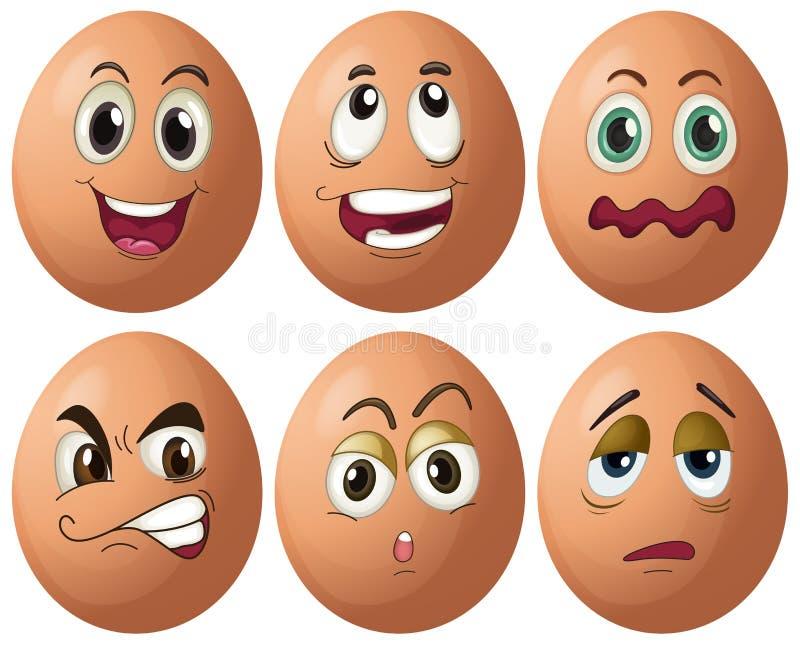 Expressões do ovo ilustração royalty free
