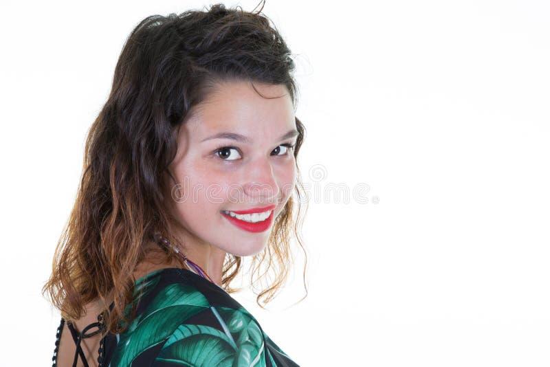 Expressões e emoções da cara da mulher na fêmea bonita nova alegre positiva foto de stock
