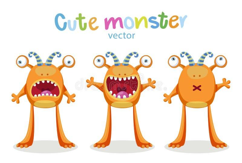 Expressões e emoções Emoções bonitos dos monstro dos desenhos animados Grupo do vetor isolado ilustração stock