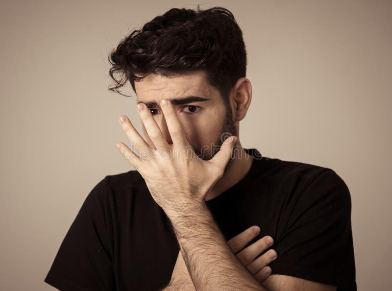 Expressões e emoções humanas, medo Face Scared foto de stock