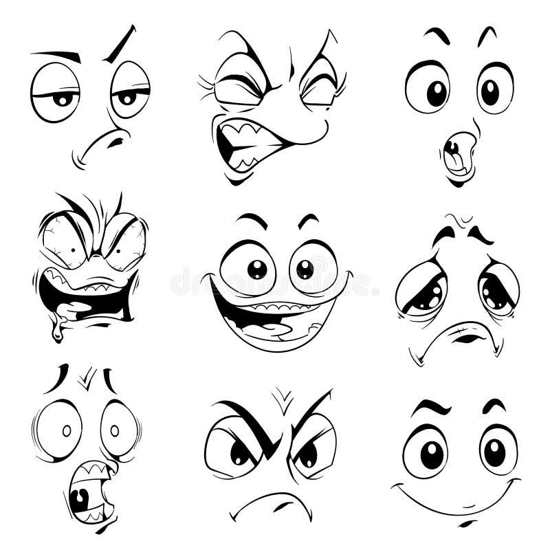 Expressões engraçadas ilustração do vetor