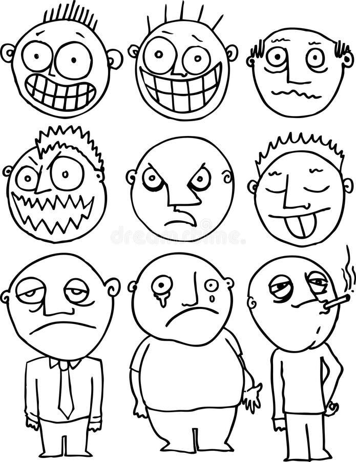 Expressões faciais ilustração royalty free