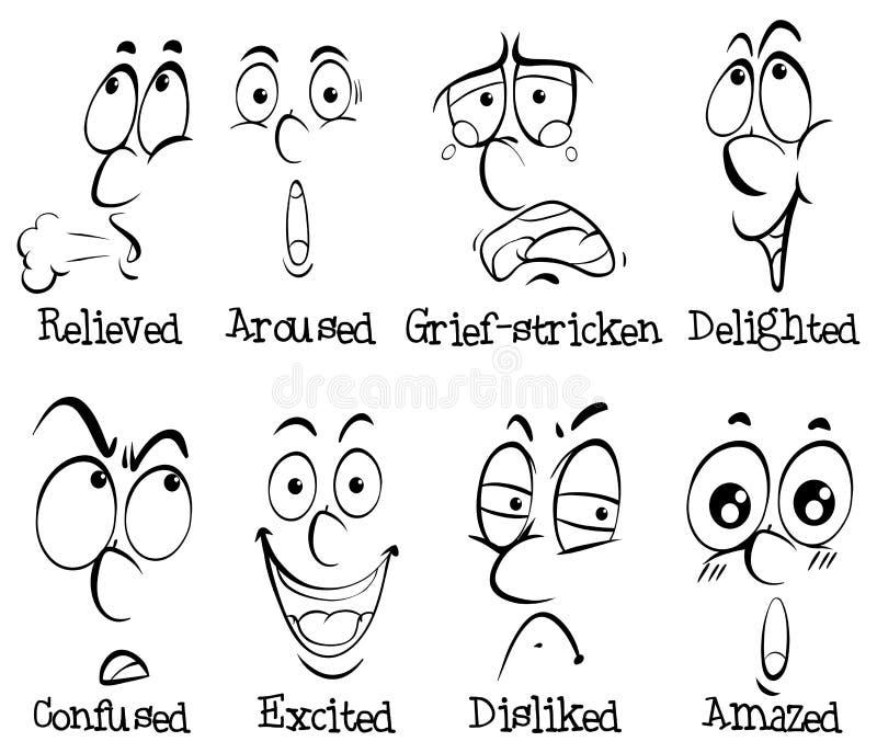 Expressões faciais com palavras ilustração royalty free