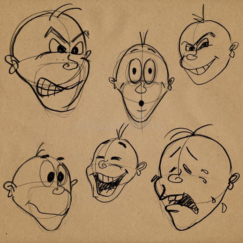 Expressões faciais da caricatura ilustração royalty free