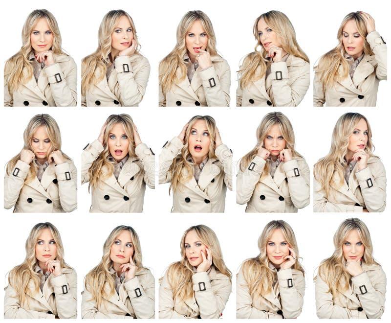 Expressões faciais da mulher imagens de stock