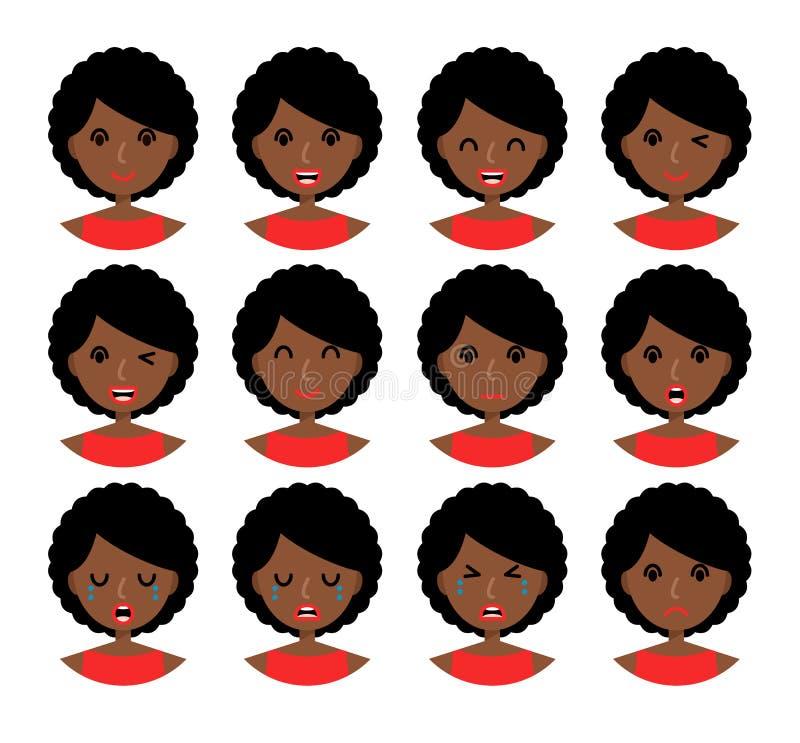 Expressões faciais da mulher ilustração stock