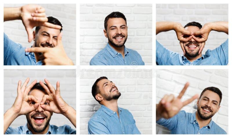 Expressões faciais do homem novo da barba na parede de tijolo foto de stock royalty free