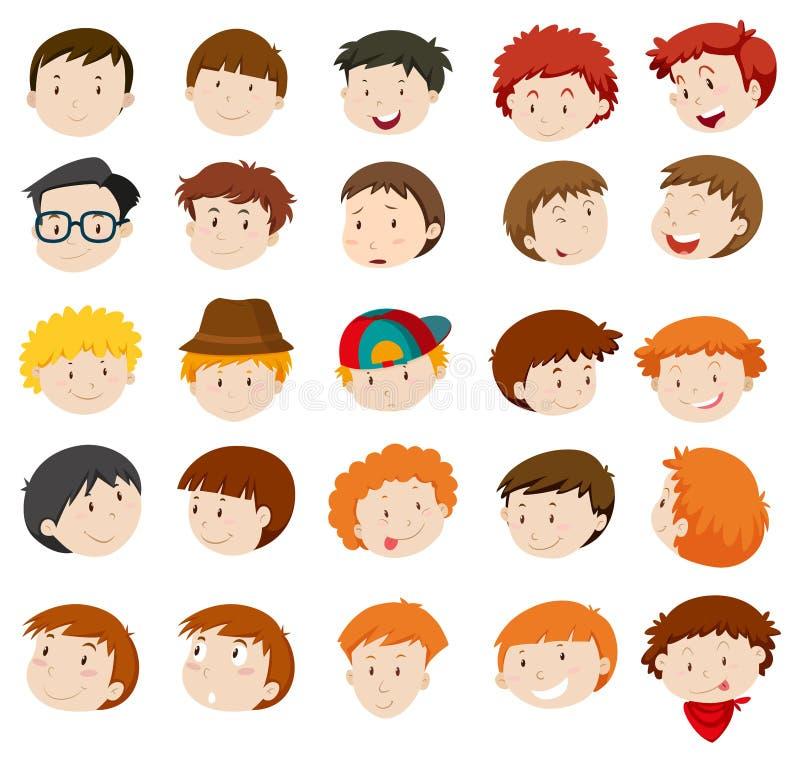 Expressões faciais dos meninos e dos homens ilustração stock