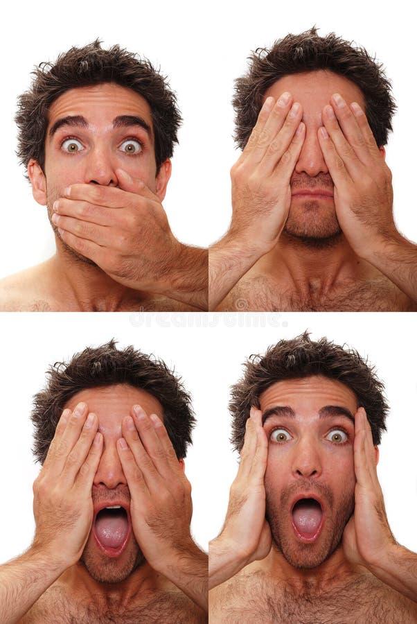 Expressões masculinas múltiplas fotografia de stock royalty free