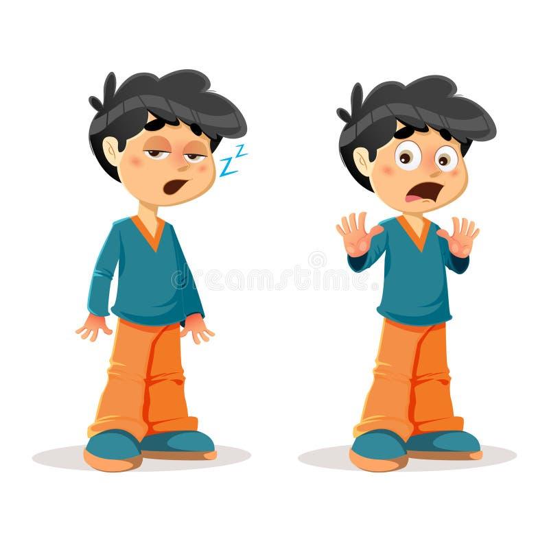 Expressões novas chocadas sonolentos do menino ilustração do vetor