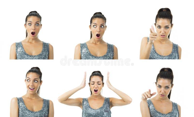 Expressões reais da jovem mulher da multi imagem fotos de stock