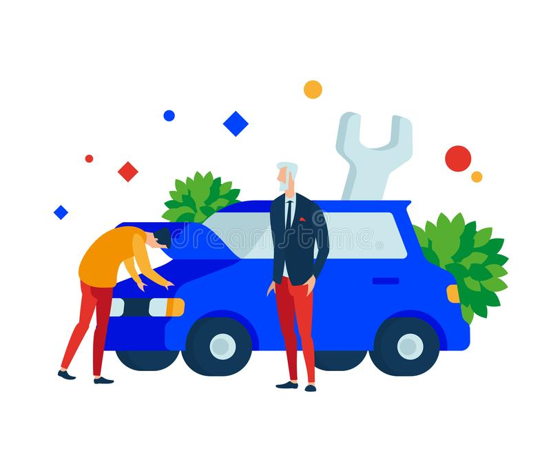 Express car repairs. A person looks under the hood in the engine compartment of the car. Vector illustration. Separate objects. To illustrate articles, reports royalty free illustration