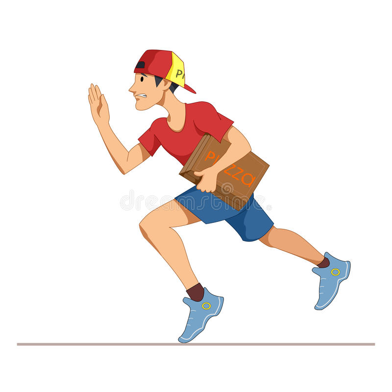 Express courier delivery of pizza. A young man in working form, and cap. Cartoon Character isolated on white backgro stock illustration