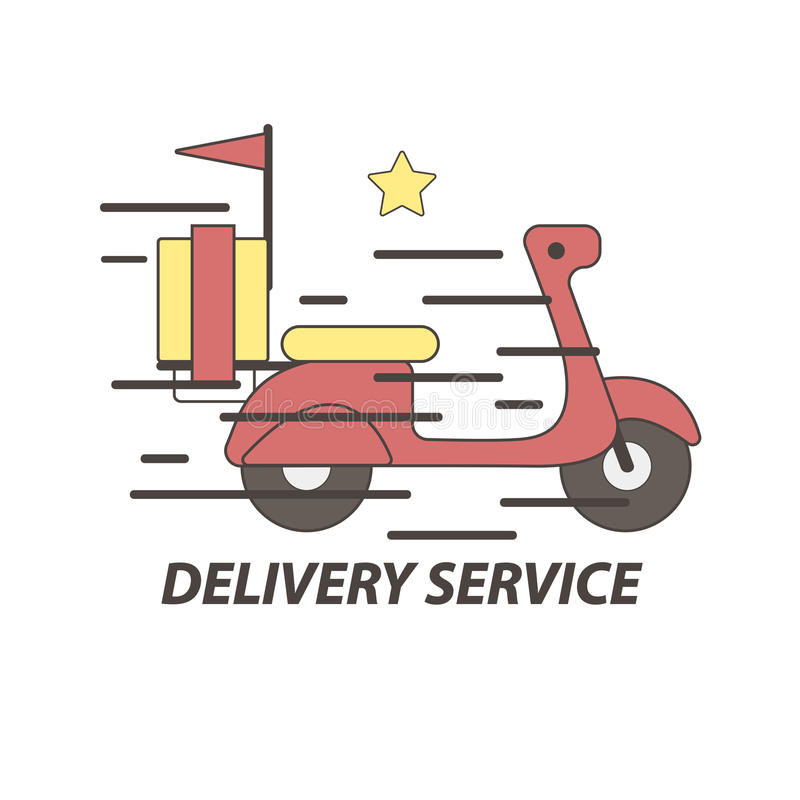 Express Delivery Food Service Scooter Vector Icon Stock ...