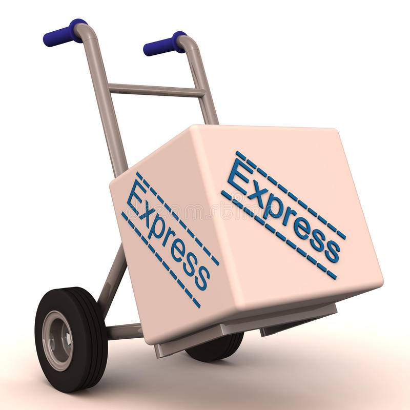 Express delivery on hand cart stock illustration