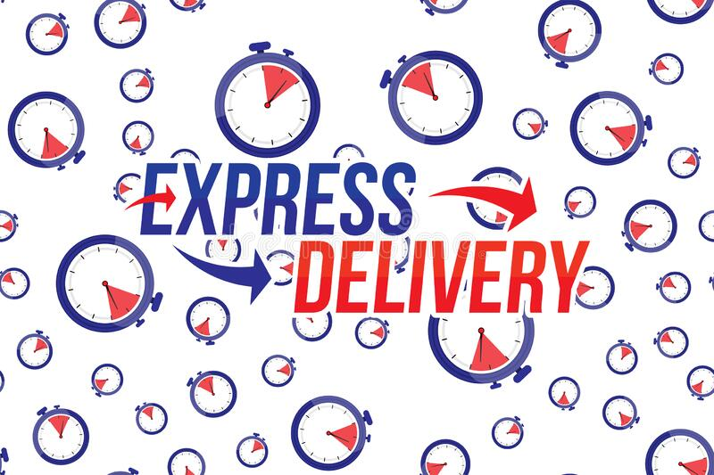 Express delivery icon. Fast shipping with timer and pattern on white background. Flat vector illustration EPS10 royalty free illustration