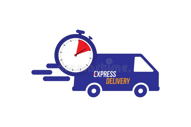 Express delivery icon. Fast shipping with truck timer with inscription on white background. Flat vector illustration EPS10 royalty free stock images