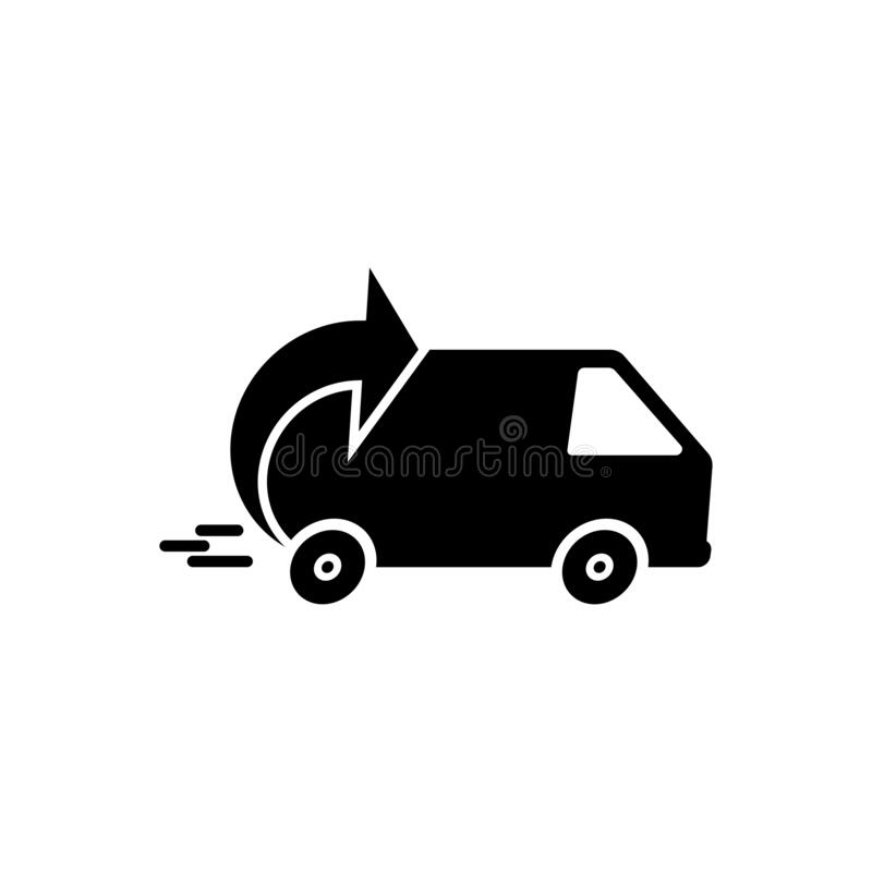 Express delivery icon. Fast shipping with truck timer with inscription on white background. Flat vector illustration EPS10 vector illustration