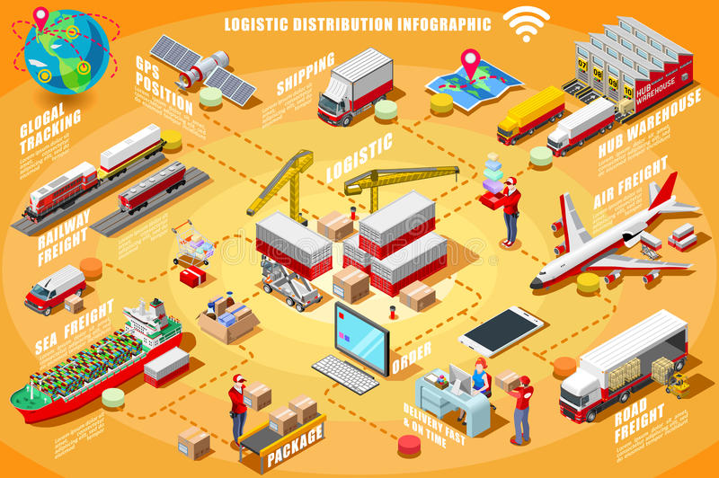 Express Delivery Infographic Isometric Vector vector illustration