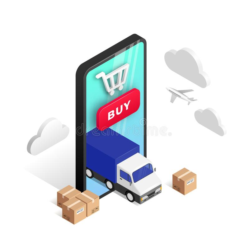 Express Delivery isometric design isolated stock illustration