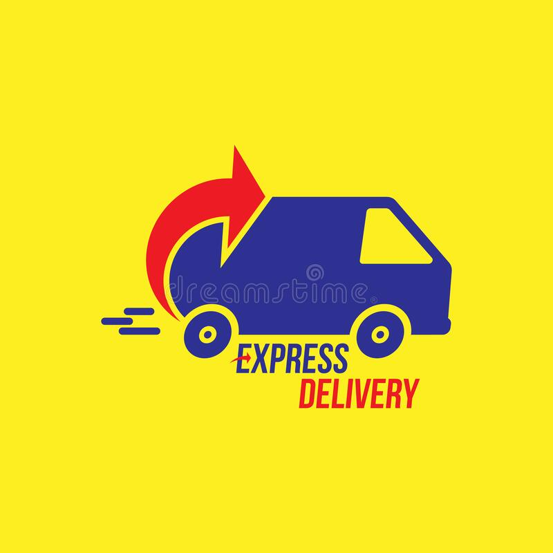 Express delivery Logo. Fast shipping with truck timer with inscription on white background. Flat vector illustration EPS10 vector illustration