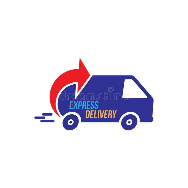 Express delivery Logo. Fast shipping with truck timer with inscription on white background. Flat vector illustration EPS10 royalty free illustration