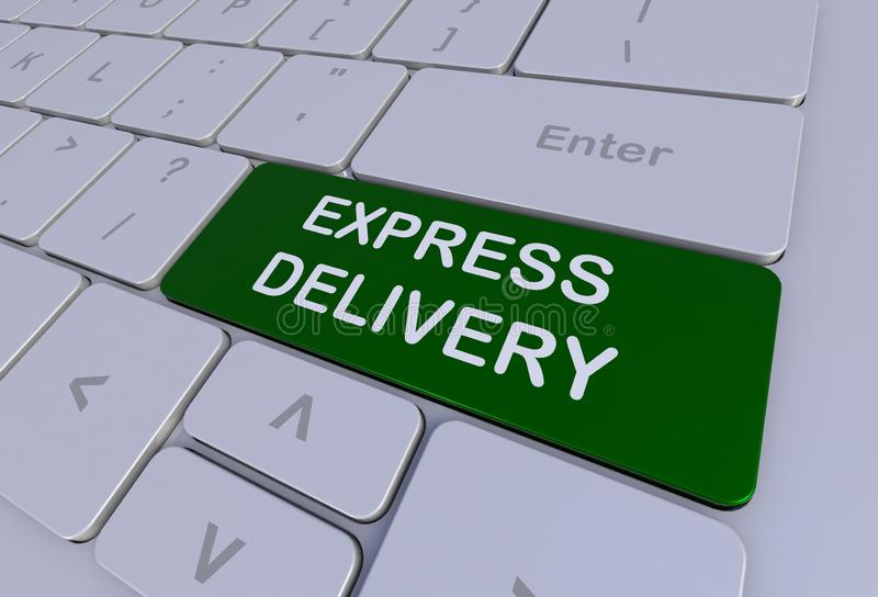 EXPRESS DELIVERY, message on keyboard. 3D rendering royalty free illustration