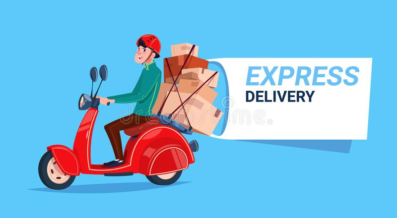 Express Delivery Service Icon Courier Boy Riding Motor Bike Template Banner With Copy Space. Flat Vector Illustration royalty free illustration