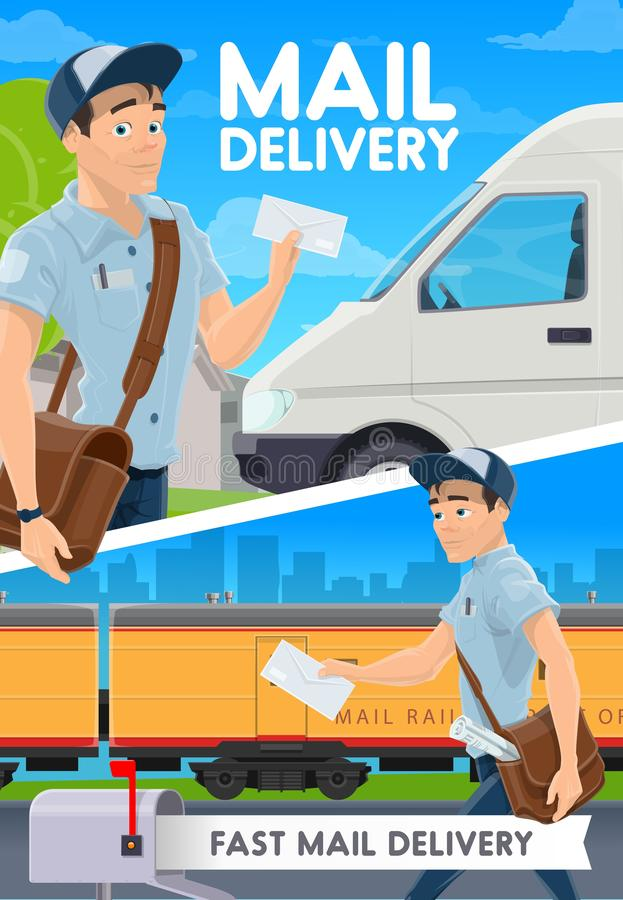 Express mail delivery, postman, van and train. Fast mail delivery and courier postman, van and railway train. Vector. Express delivery service, post office man vector illustration