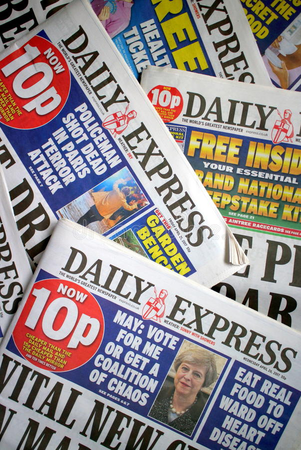 Daily Express Newspaper. Bracknell, England - May 04, 2017: Copies of the Daily Express, a daily tabloid newspaper in circulation across the United Kingdom since royalty free stock photography