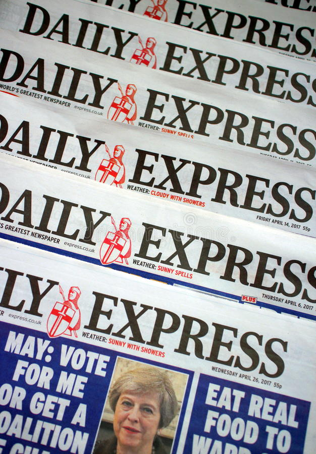 Daily Express Newspaper. Bracknell, England - May 04, 2017: Copies of the Daily Express, a daily tabloid newspaper in circulation across the United Kingdom since royalty free stock photo