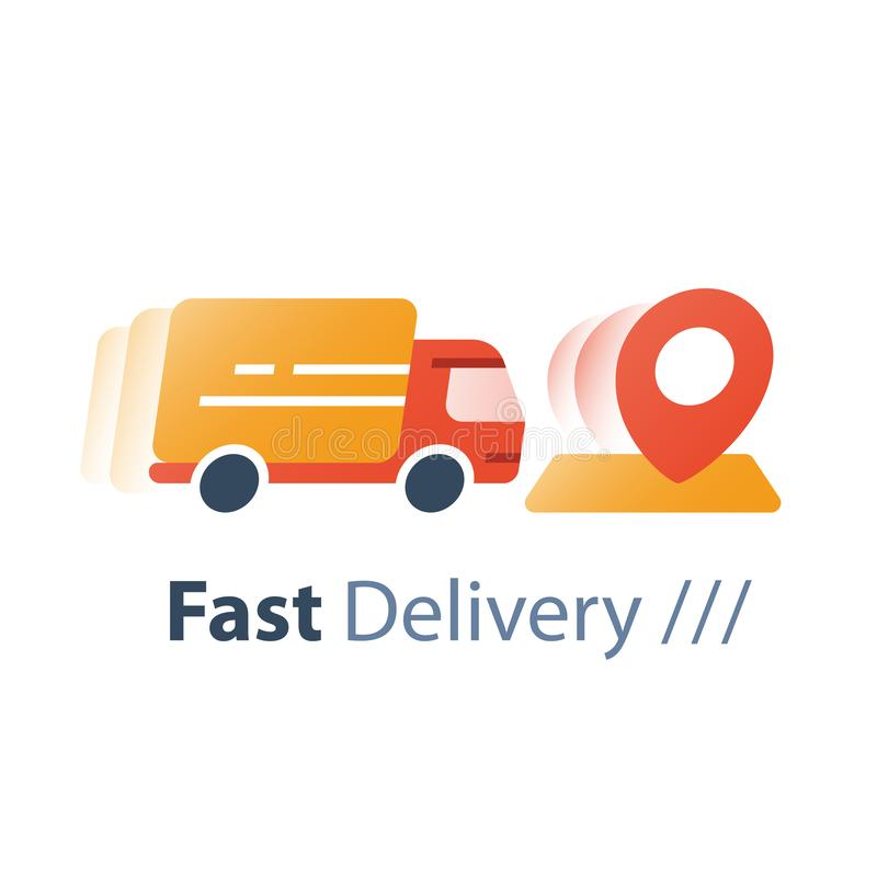 Express shipping order, truck in motion, delivery services, fast relocation, transportation and logistics,  distribution concept vector illustration
