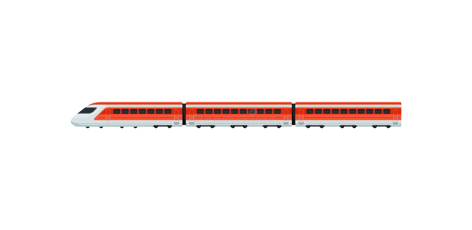 Express train for passengers of airport. Electric train. Public transport. Flat vector element for mobile app or promo stock illustration